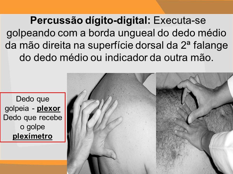 Percussão dígito-digital: Executa-se golpeando com a borda ungueal do dedo médio da mão direita na superfície dorsal da 2ª falange do dedo médio ou in