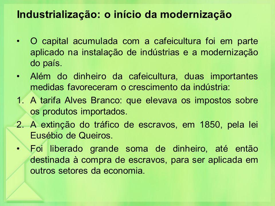 Industrialização: o início da modernização O capital acumulada com a cafeicultura foi em parte aplicado na instalação de indústrias e a modernização d