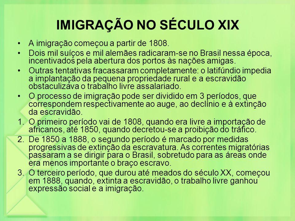 IMIGRAÇÃO NO SÉCULO XIX A imigração começou a partir de 1808. Dois mil suíços e mil alemães radicaram-se no Brasil nessa época, incentivados pela aber