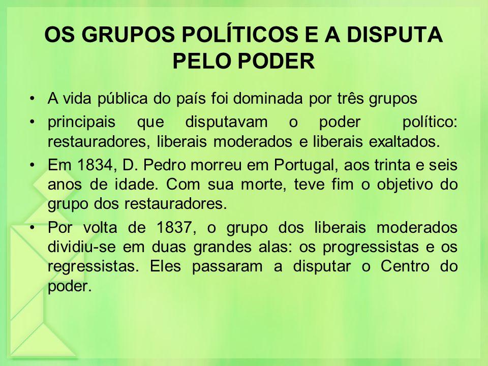 OS GRUPOS POLÍTICOS E A DISPUTA PELO PODER A vida pública do país foi dominada por três grupos principais que disputavam o poder político: restaurador
