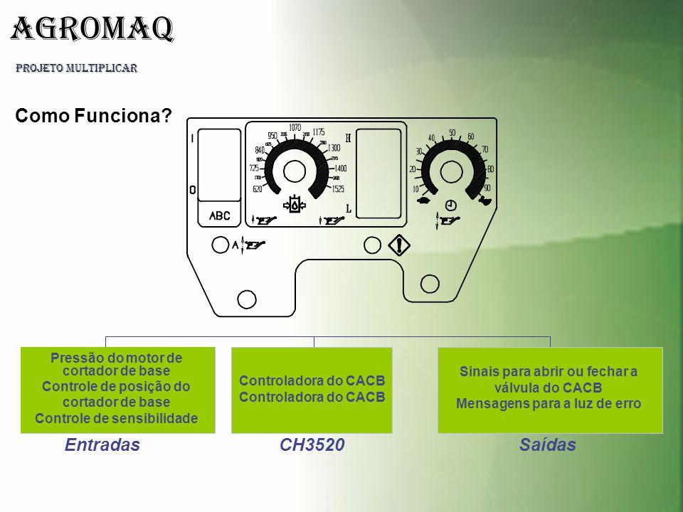 PROJETO MULTIPLICAR AGROMAQ Entradas Pressão do motor de cortador de base Controle de posição do cortador de base Controle de sensibilidade CH3520 Con