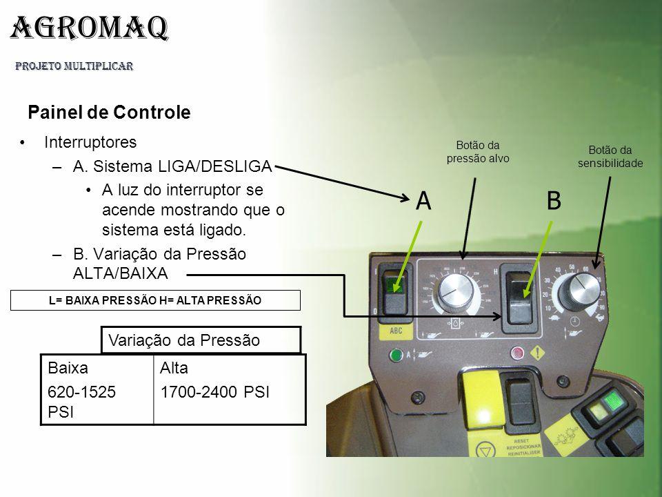 PROJETO MULTIPLICAR AGROMAQ Interruptores –A. Sistema LIGA/DESLIGA A luz do interruptor se acende mostrando que o sistema está ligado. –B. Variação da