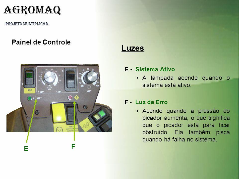 PROJETO MULTIPLICAR AGROMAQ E F Luzes E - Sistema Ativo A lâmpada acende quando o sistema está ativo. F - Luz de Erro Acende quando a pressão do picad