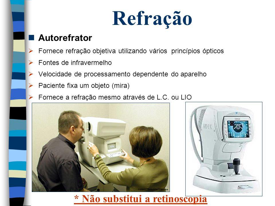 Refração Autorefrator  Fornece refração objetiva utilizando vários princípios ópticos  Fontes de infravermelho  Velocidade de processamento depende