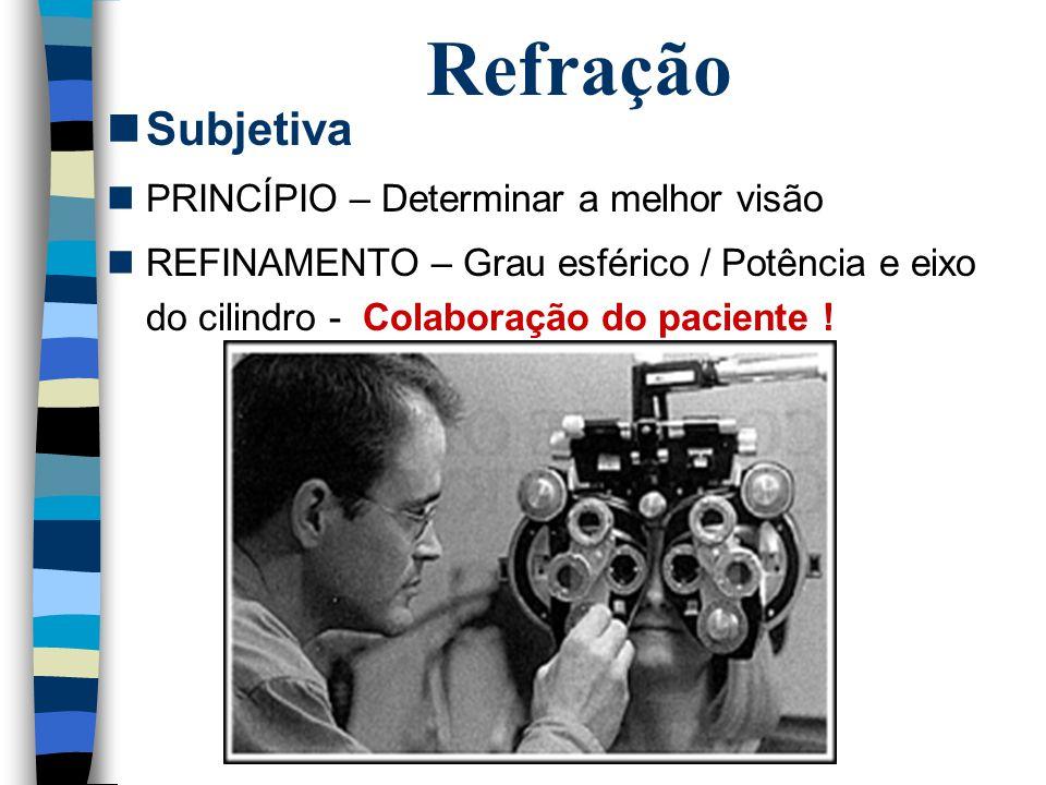 Refração Subjetiva PRINCÍPIO – Determinar a melhor visão REFINAMENTO – Grau esférico / Potência e eixo do cilindro - Colaboração do paciente !