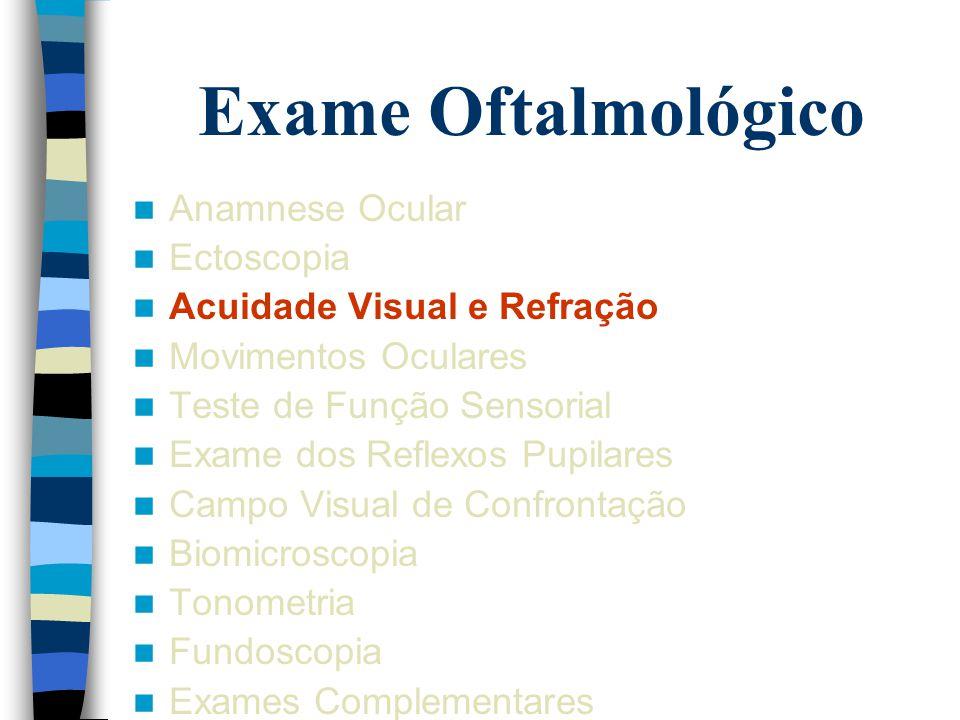 Exame Oftalmológico Anamnese Ocular Ectoscopia Acuidade Visual e Refração Movimentos Oculares Teste de Função Sensorial Exame dos Reflexos Pupilares C