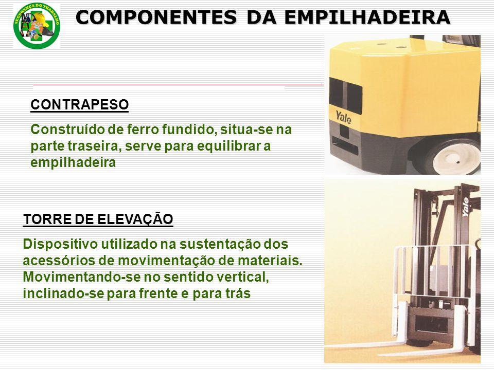 CONTRAPESO Construído de ferro fundido, situa-se na parte traseira, serve para equilibrar a empilhadeira TORRE DE ELEVAÇÃO Dispositivo utilizado na sustentação dos acessórios de movimentação de materiais.