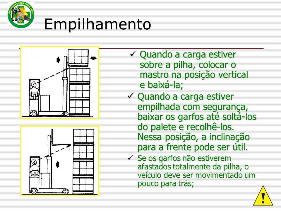 Quando a carga estiver sobre a pilha, colocar o mastro na posição vertical e baixá-la; Quando a carga estiver empilhada com segurança, baixar os garfo