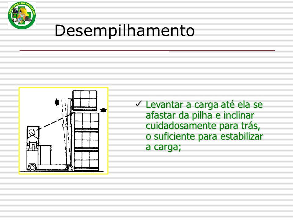 Levantar a carga até ela se afastar da pilha e inclinar cuidadosamente para trás, o suficiente para estabilizar a carga;
