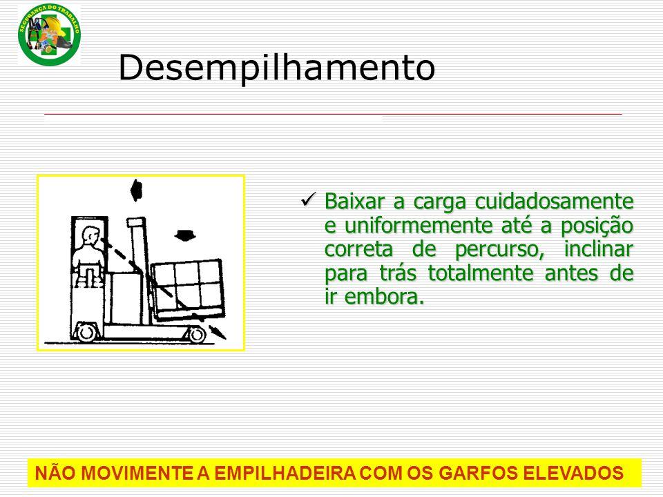 Baixar a carga cuidadosamente e uniformemente até a posição correta de percurso, inclinar para trás totalmente antes de ir embora. NÃO MOVIMENTE A EMP