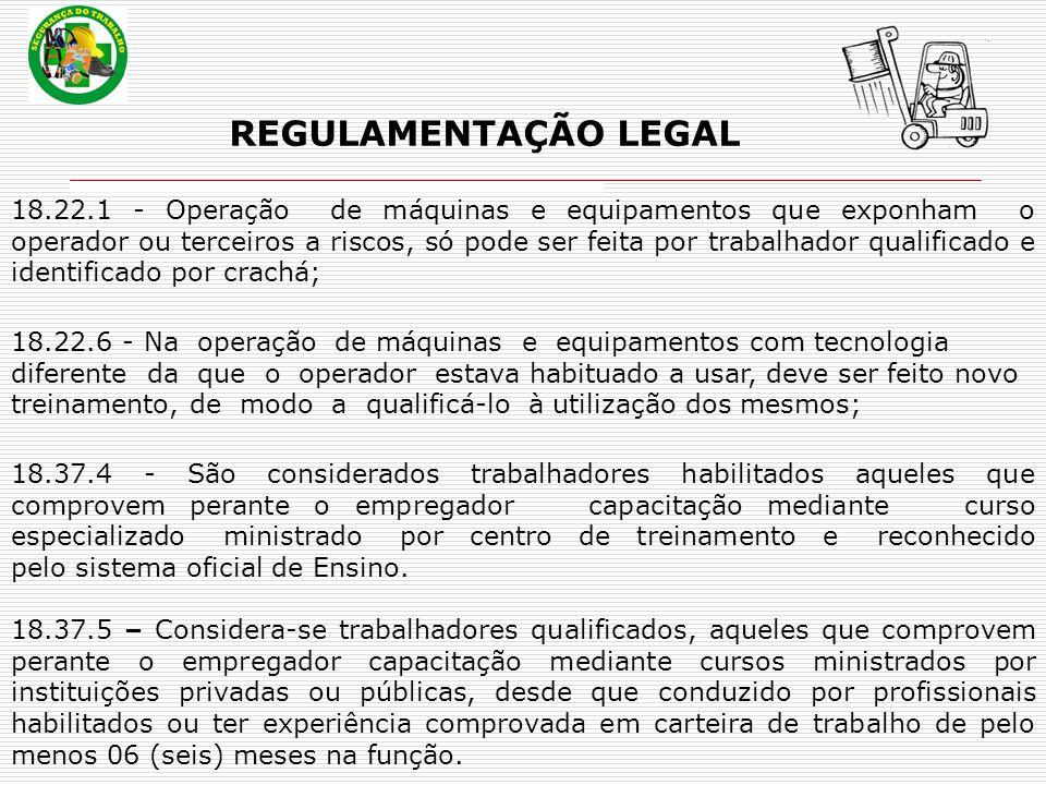 REGULAMENTAÇÃO LEGAL 18.22.1 - Operação de máquinas e equipamentos que exponham o operador ou terceiros a riscos, só pode ser feita por trabalhador qu