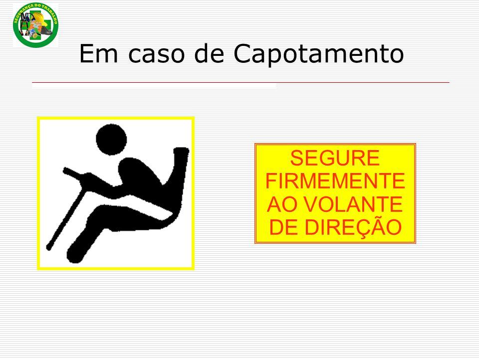 Em caso de Capotamento SEGURE FIRMEMENTE AO VOLANTE DE DIREÇÃO