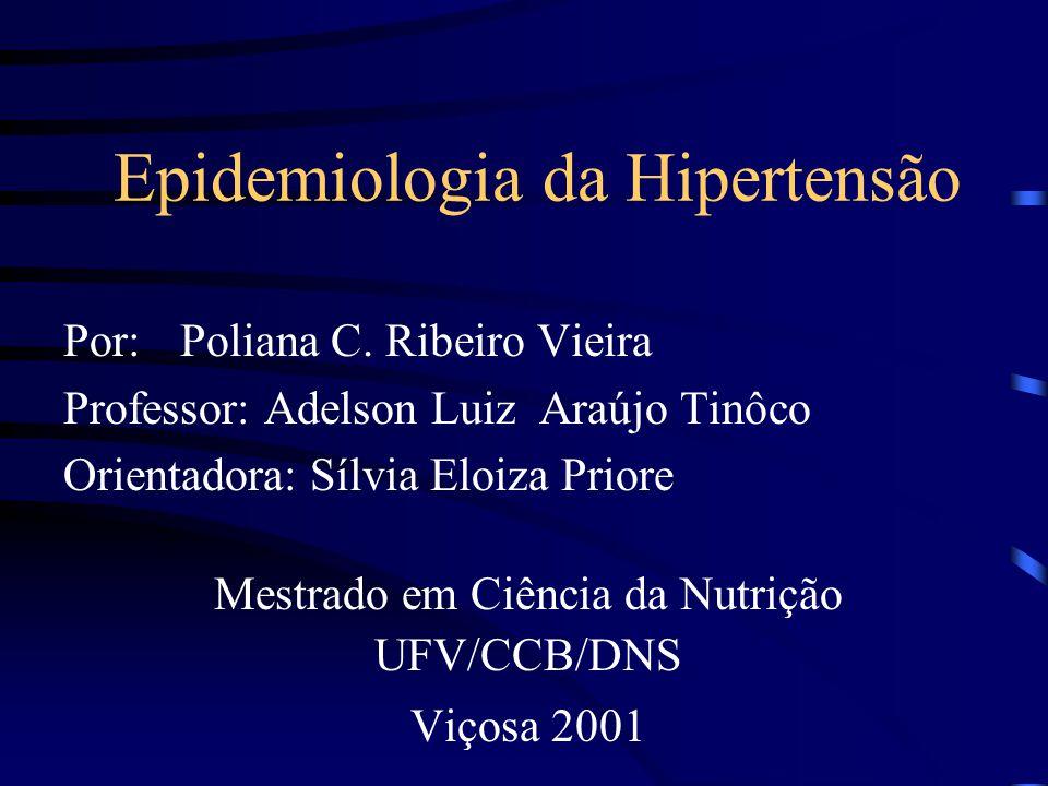 EPIDEMIOLOGIA NUTRICIONAL É o ramo da ciência epidemiológica, que estuda o indivíduo ou população, a base científica em que a Nutrição se apoia para explicar a ocorrência e a distribuição de doenças e sua relação com a dieta.