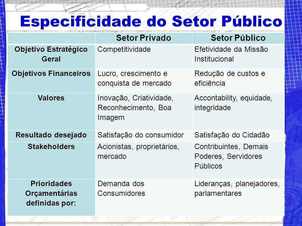 Especificidade do Setor Público Setor PrivadoSetor Público Objetivo Estratégico Geral Competitividade Efetividade da Missão Institucional Objetivos Fi
