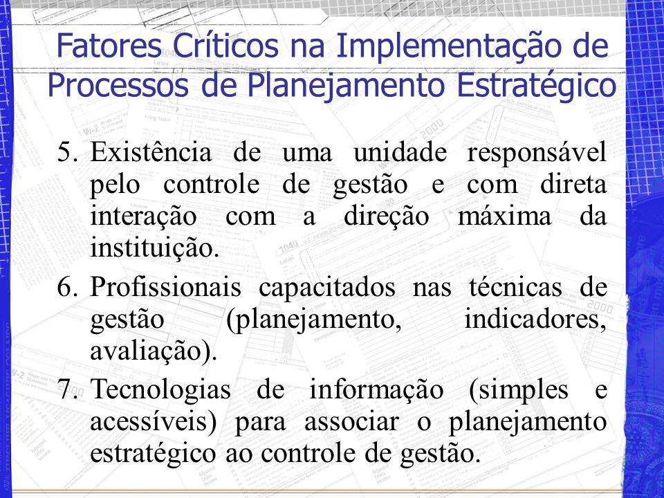 5.Existência de uma unidade responsável pelo controle de gestão e com direta interação com a direção máxima da instituição. 6.Profissionais capacitado