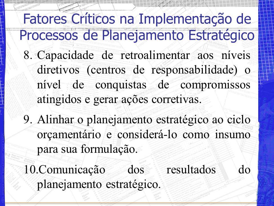 8.Capacidade de retroalimentar aos níveis diretivos (centros de responsabilidade) o nível de conquistas de compromissos atingidos e gerar ações corretivas.