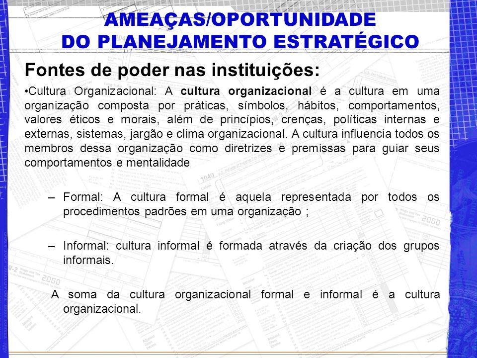 AMEAÇAS/OPORTUNIDADE DO PLANEJAMENTO ESTRATÉGICO Fontes de poder nas instituições: Cultura Organizacional: A cultura organizacional é a cultura em uma