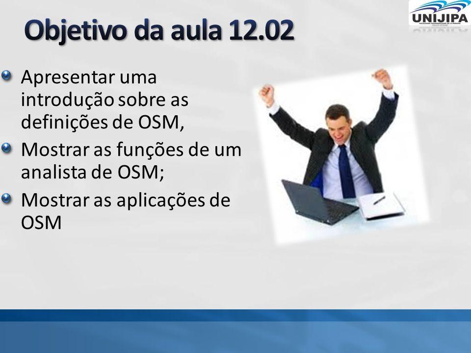 Apresentar uma introdução sobre as definições de OSM, Mostrar as funções de um analista de OSM; Mostrar as aplicações de OSM