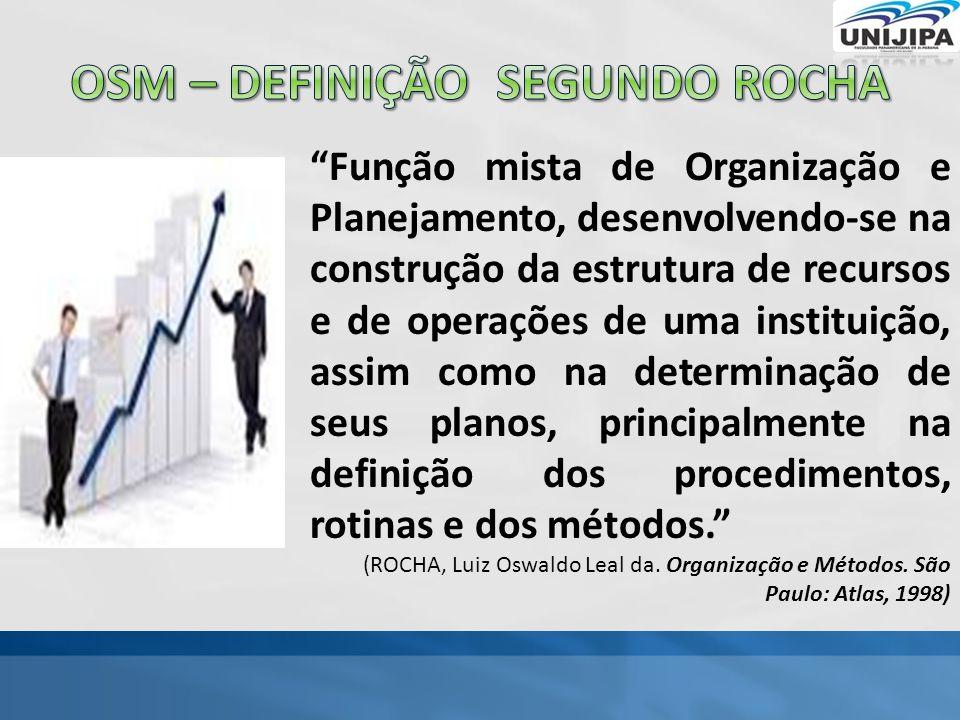 Função mista de Organização e Planejamento, desenvolvendo-se na construção da estrutura de recursos e de operações de uma instituição, assim como na determinação de seus planos, principalmente na definição dos procedimentos, rotinas e dos métodos. (ROCHA, Luiz Oswaldo Leal da.