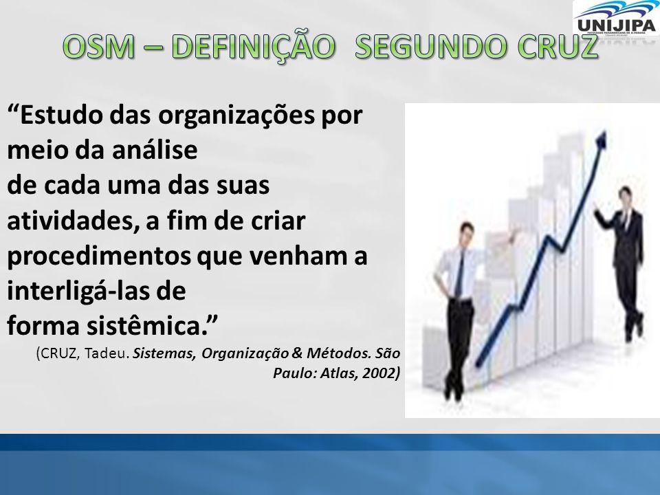 Estudo das organizações por meio da análise de cada uma das suas atividades, a fim de criar procedimentos que venham a interligá-las de forma sistêmica. (CRUZ, Tadeu.