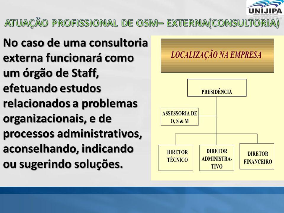 No caso de uma consultoria externa funcionará como um órgão de Staff, efetuando estudos relacionados a problemas organizacionais, e de processos administrativos, aconselhando, indicando ou sugerindo soluções.