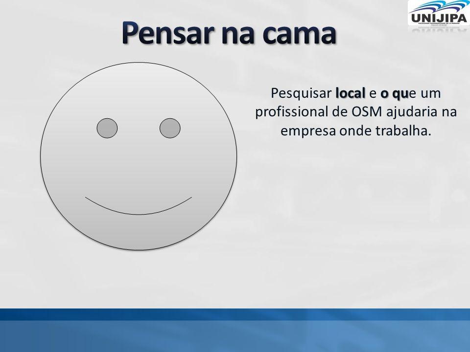 local o qu Pesquisar local e o que um profissional de OSM ajudaria na empresa onde trabalha.