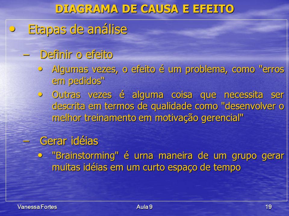 Vanessa FortesAula 919 Etapas de análise Etapas de análise –Definir o efeito Algumas vezes, o efeito é um problema, como