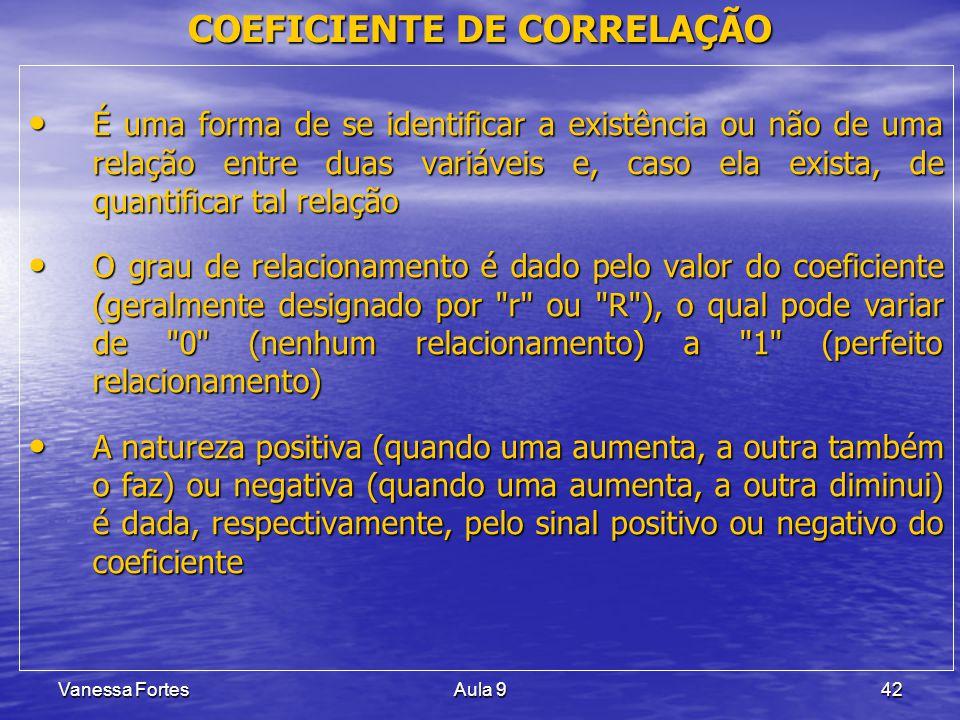 Vanessa FortesAula 942 É uma forma de se identificar a existência ou não de uma relação entre duas variáveis e, caso ela exista, de quantificar tal re