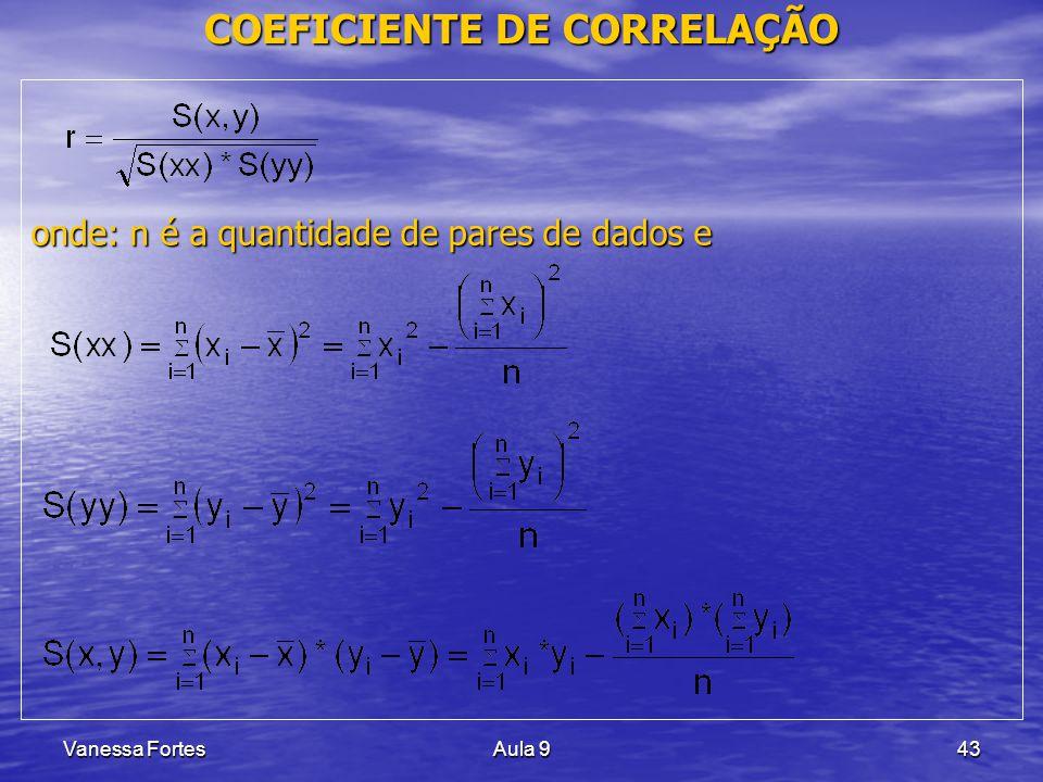 Vanessa FortesAula 943 COEFICIENTE DE CORRELAÇÃO onde: n é a quantidade de pares de dados e