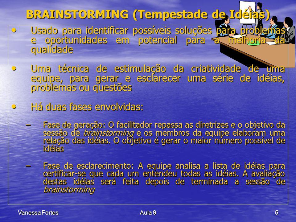 Vanessa FortesAula 95 BRAINSTORMING (Tempestade de Idéias) Usado para identificar possíveis soluções para problemas e oportunidades em potencial para