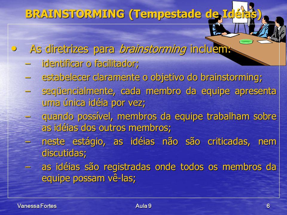 Vanessa FortesAula 96 BRAINSTORMING (Tempestade de Idéias) As diretrizes para brainstorming incluem: As diretrizes para brainstorming incluem: –identi