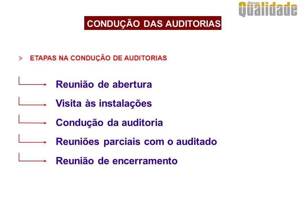  ETAPAS NA CONDUÇÃO DE AUDITORIAS Reunião de abertura Visita às instalações Condução da auditoria Reuniões parciais com o auditado Reunião de encerra