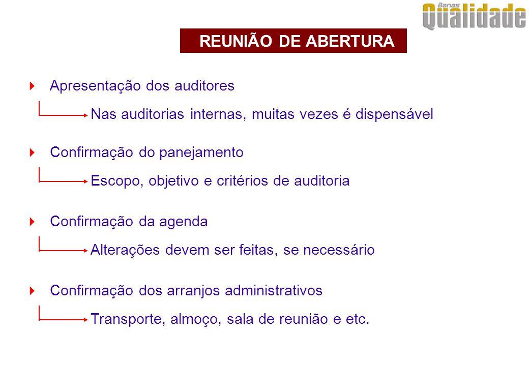  Apresentação dos auditores Nas auditorias internas, muitas vezes é dispensável REUNIÃO DE ABERTURA  Confirmação do panejamento Escopo, objetivo e c