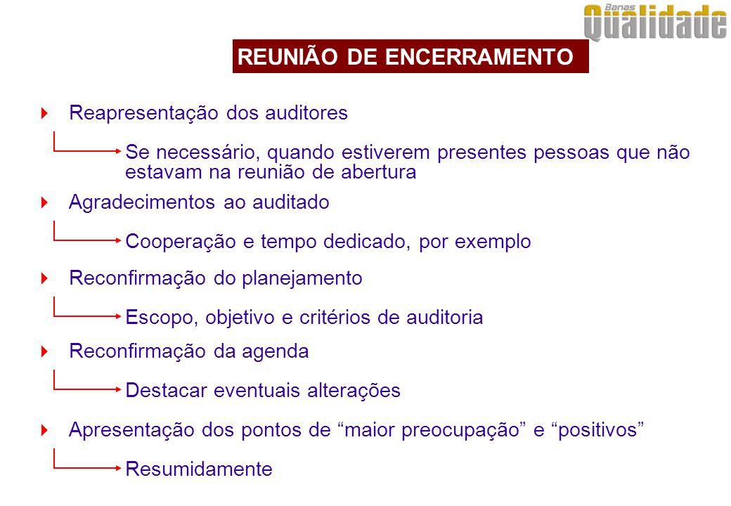  Reapresentação dos auditores Se necessário, quando estiverem presentes pessoas que não estavam na reunião de abertura REUNIÃO DE ENCERRAMENTO  Agra