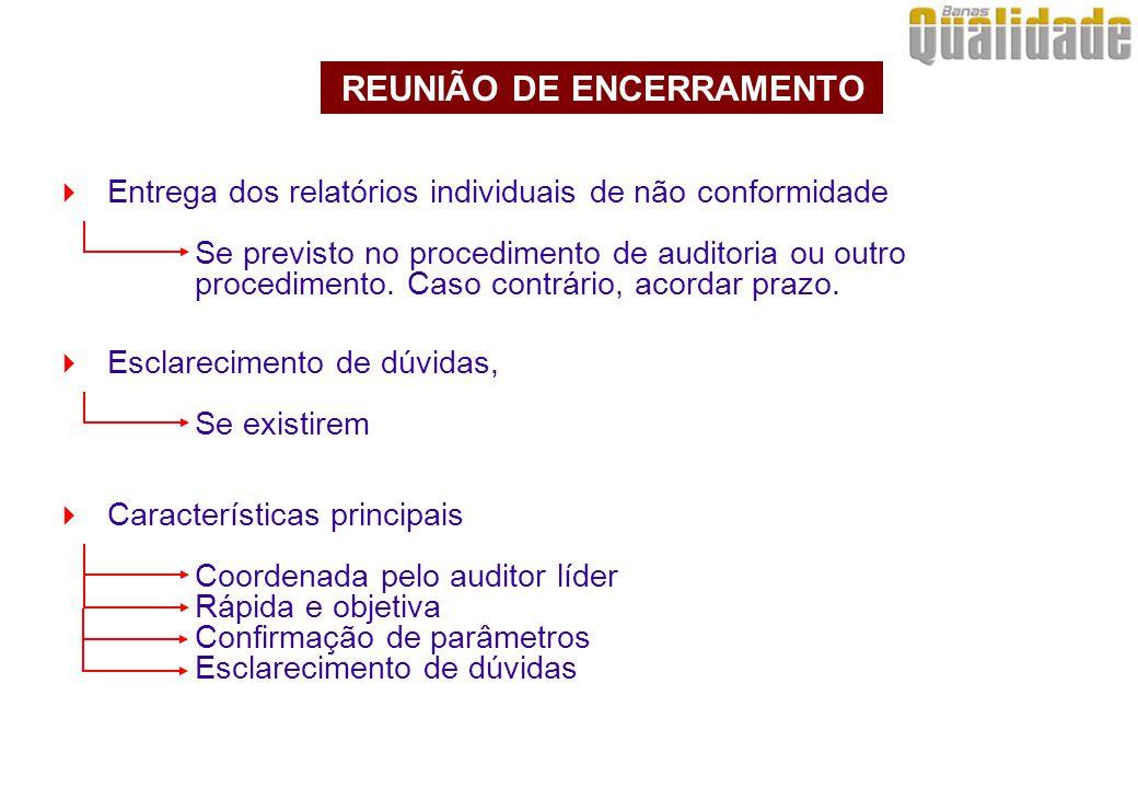  Entrega dos relatórios individuais de não conformidade Se previsto no procedimento de auditoria ou outro procedimento.