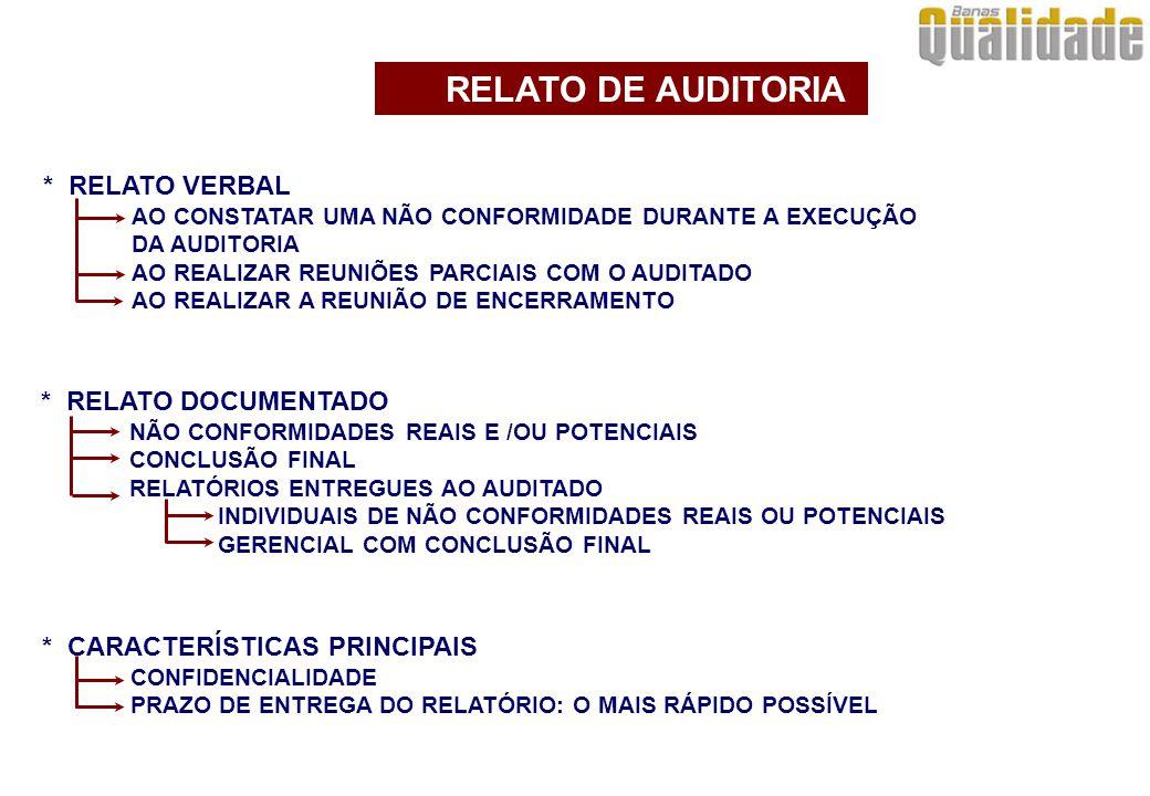 * CARACTERÍSTICAS PRINCIPAIS CONFIDENCIALIDADE PRAZO DE ENTREGA DO RELATÓRIO: O MAIS RÁPIDO POSSÍVEL * RELATO VERBAL AO CONSTATAR UMA NÃO CONFORMIDADE DURANTE A EXECUÇÃO DA AUDITORIA AO REALIZAR REUNIÕES PARCIAIS COM O AUDITADO AO REALIZAR A REUNIÃO DE ENCERRAMENTO * RELATO DOCUMENTADO NÃO CONFORMIDADES REAIS E /OU POTENCIAIS CONCLUSÃO FINAL RELATÓRIOS ENTREGUES AO AUDITADO INDIVIDUAIS DE NÃO CONFORMIDADES REAIS OU POTENCIAIS GERENCIAL COM CONCLUSÃO FINAL RELATO DE AUDITORIA