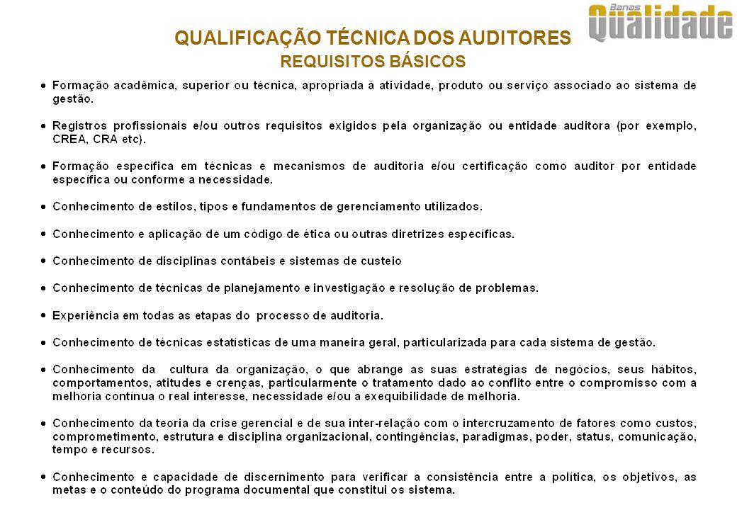 QUALIFICAÇÃO TÉCNICA DOS AUDITORES REQUISITOS BÁSICOS