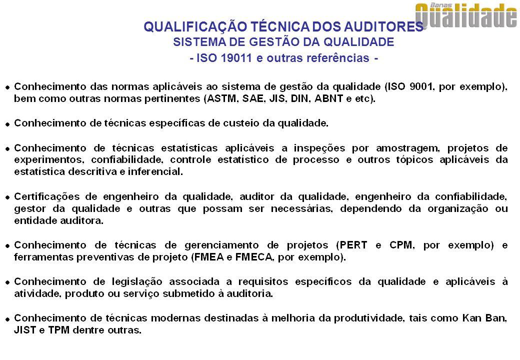 QUALIFICAÇÃO TÉCNICA DOS AUDITORES SISTEMA DE GESTÃO DA QUALIDADE - ISO 19011 e outras referências -