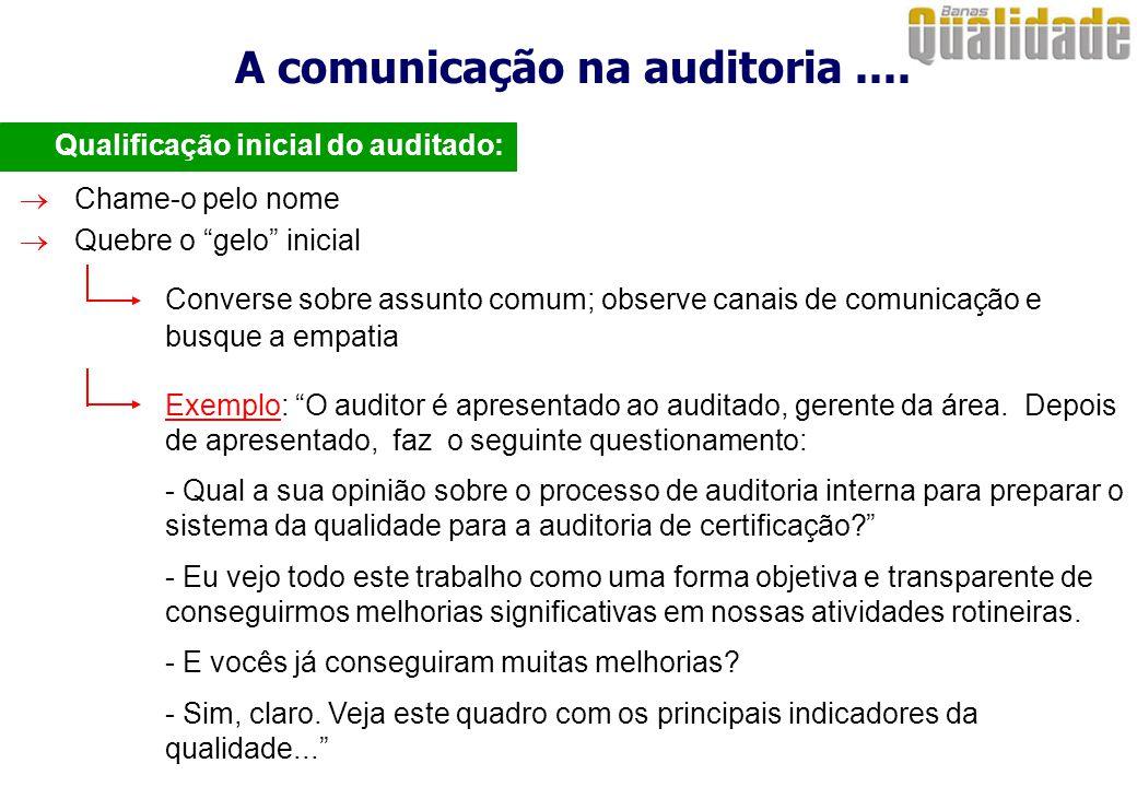 A comunicação na auditoria....  Qualificação inicial do auditado:  Chame-o pelo nome Converse sobre assunto comum; observe canais de comunicação e b