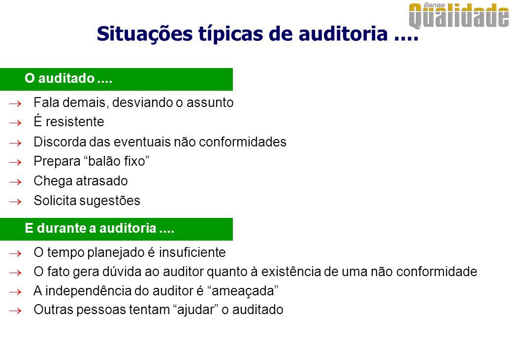 Situações típicas de auditoria.... O auditado....