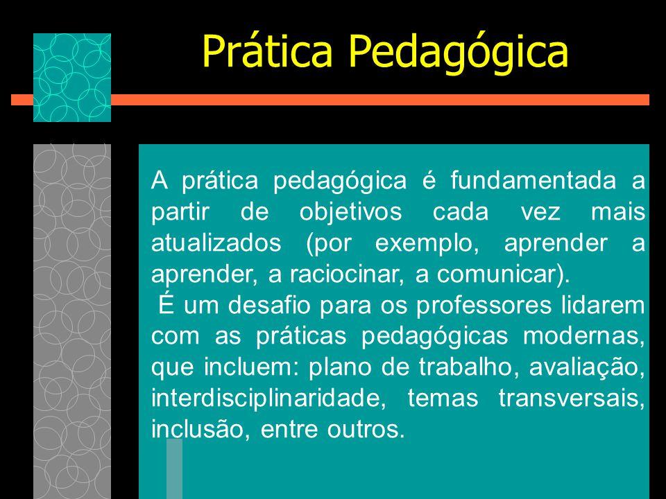 A prática pedagógica é fundamentada a partir de objetivos cada vez mais atualizados (por exemplo, aprender a aprender, a raciocinar, a comunicar). É u