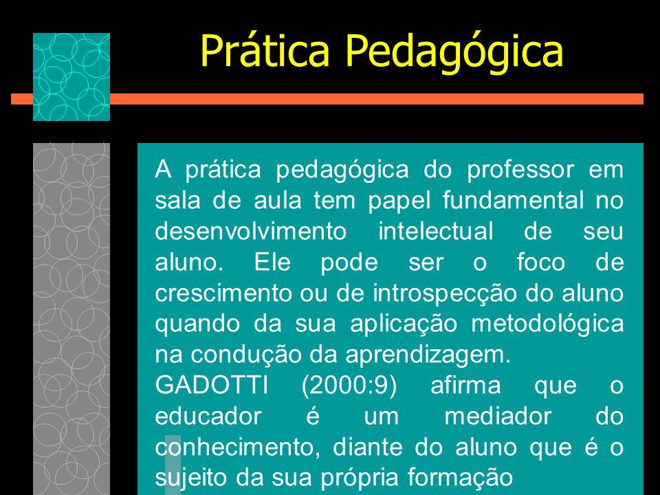 A prática pedagógica do professor em sala de aula tem papel fundamental no desenvolvimento intelectual de seu aluno. Ele pode ser o foco de cresciment
