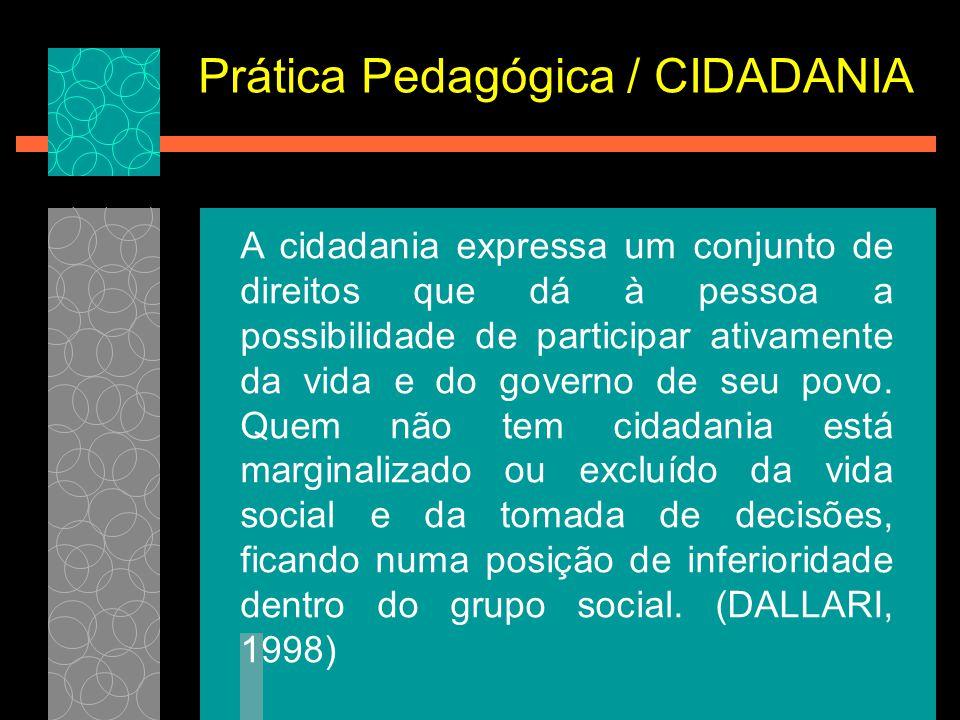 Prática Pedagógica / CIDADANIA A cidadania expressa um conjunto de direitos que dá à pessoa a possibilidade de participar ativamente da vida e do gove