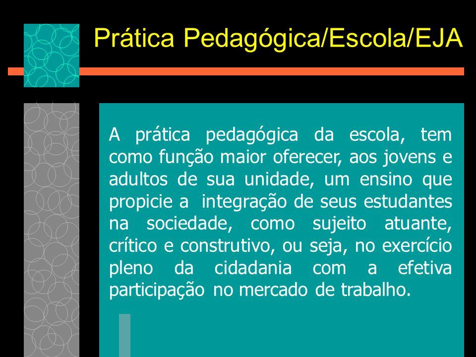 A prática pedagógica da escola, tem como função maior oferecer, aos jovens e adultos de sua unidade, um ensino que propicie a integração de seus estud