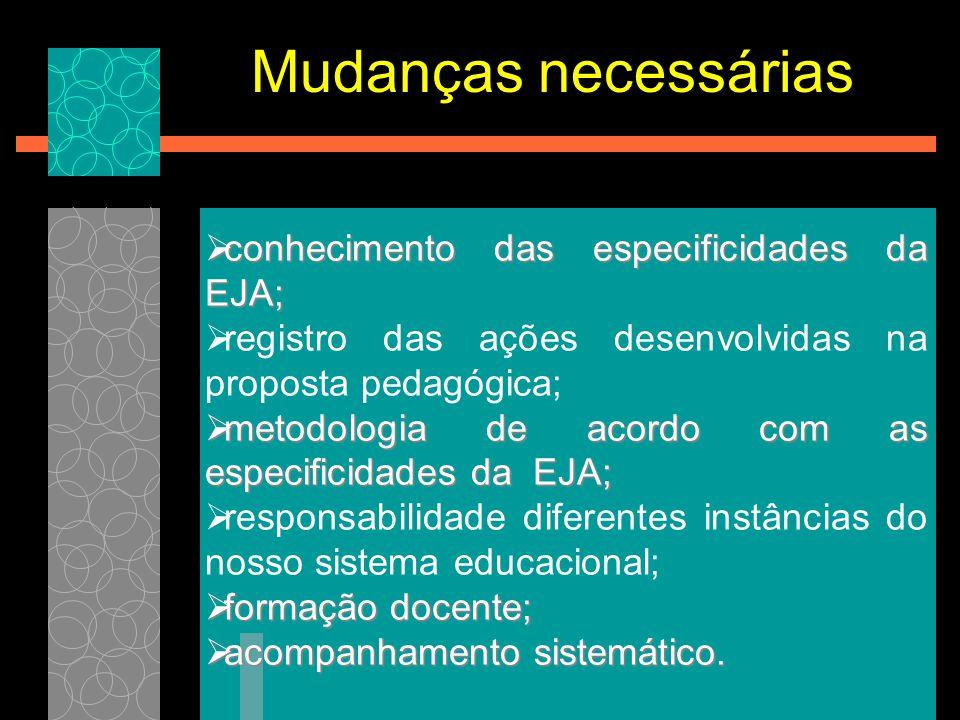  conhecimento das especificidades da EJA;  registro das ações desenvolvidas na proposta pedagógica;  metodologia de acordo com as especificidades d