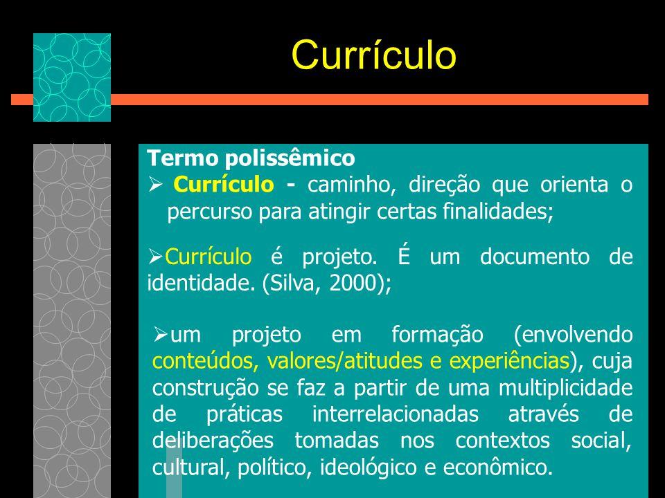Currículo Termo polissêmico  Currículo - caminho, direção que orienta o percurso para atingir certas finalidades;  Currículo é projeto. É um documen