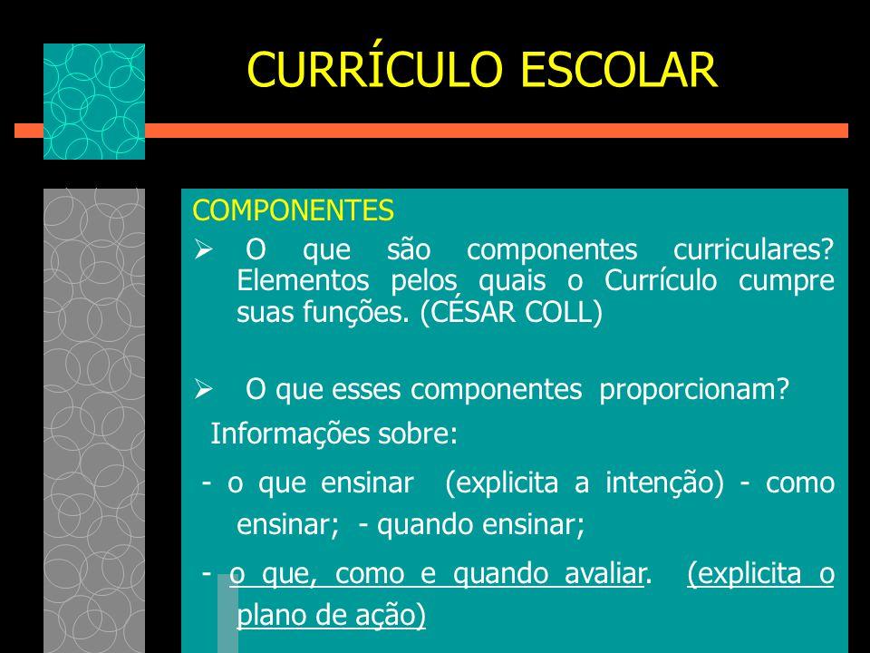 COMPONENTES  O que são componentes curriculares? Elementos pelos quais o Currículo cumpre suas funções. (CÉSAR COLL)  O que esses componentes propor