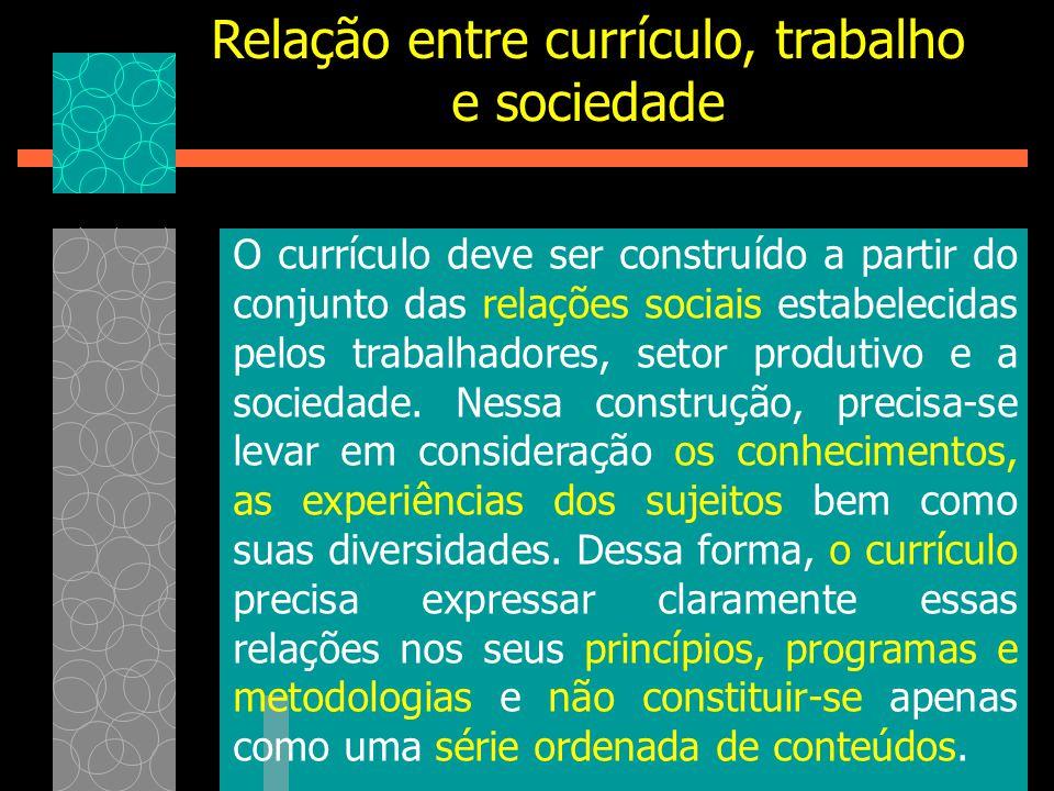 Relação entre currículo, trabalho e sociedade O currículo deve ser construído a partir do conjunto das relações sociais estabelecidas pelos trabalhado