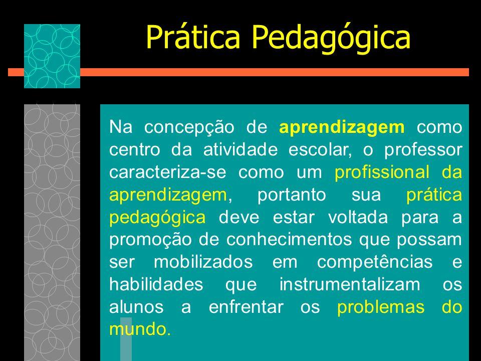 Na concepção de aprendizagem como centro da atividade escolar, o professor caracteriza-se como um profissional da aprendizagem, portanto sua prática p