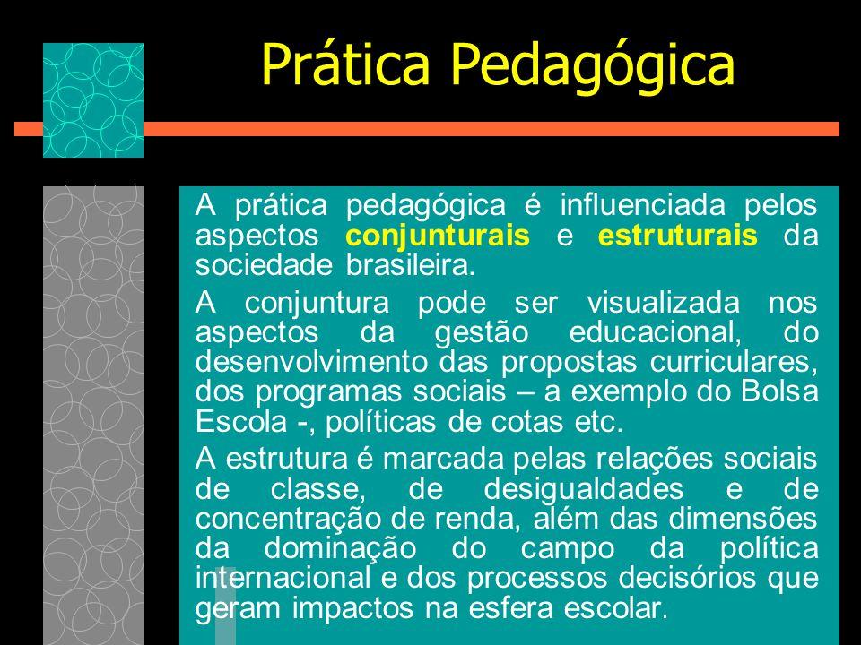 A prática pedagógica é influenciada pelos aspectos conjunturais e estruturais da sociedade brasileira. A conjuntura pode ser visualizada nos aspectos